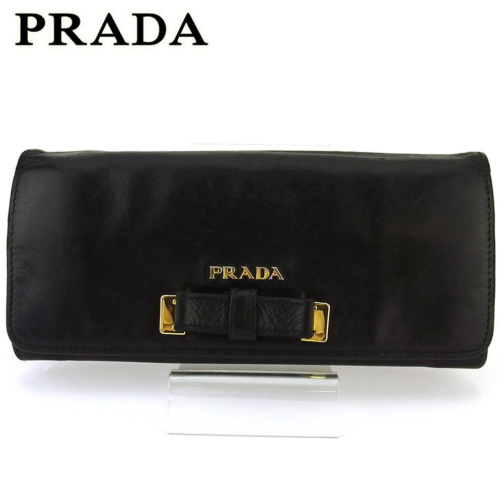 【中古】 プラダ 長財布 さいふ ファスナー付き 財布 さいふ レディース リボンモチーフ ブラック ゴールド レザー PRADA T16945