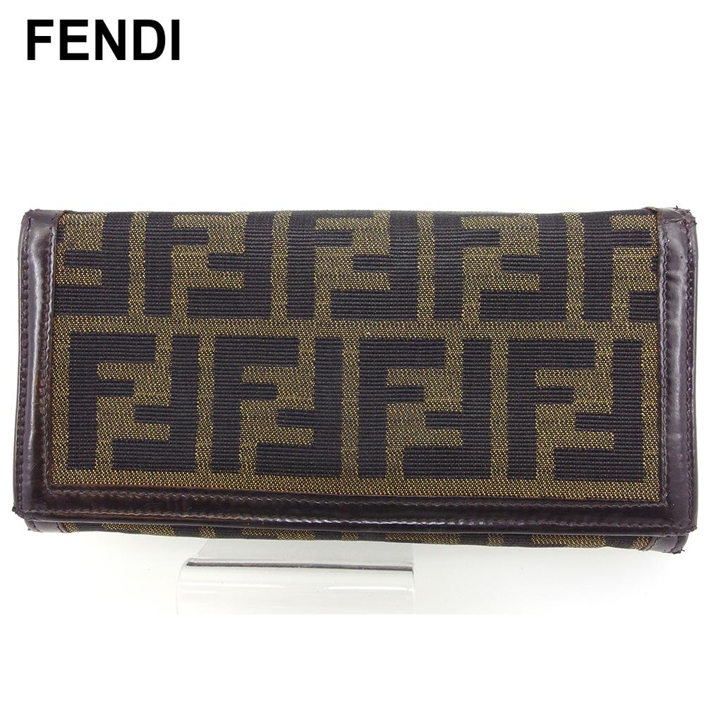 【中古】 フェンディ 長財布 さいふ ファスナー付き 財布 さいふ レディース メンズ ズッカ ブラック ベージュ ブラウン キャンバス×レザー FENDI T16957