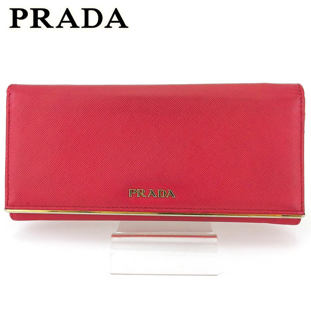 【中古】 プラダ 長財布 さいふ ファスナー付き 財布 さいふ レディース ロゴ ピンク ゴールド サフィアーノレザー PRADA T16970