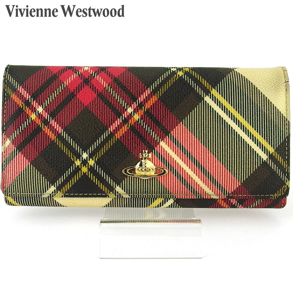 【中古】 ヴィヴィアン ウエストウッド 長財布 さいふ ファスナー付き 財布 さいふ レディース メンズ ニューエキシビジョン オーブ チェック ブラック ピンク ベージュ ゴールド系 PVC×レザー Vivienne Westwood T16972