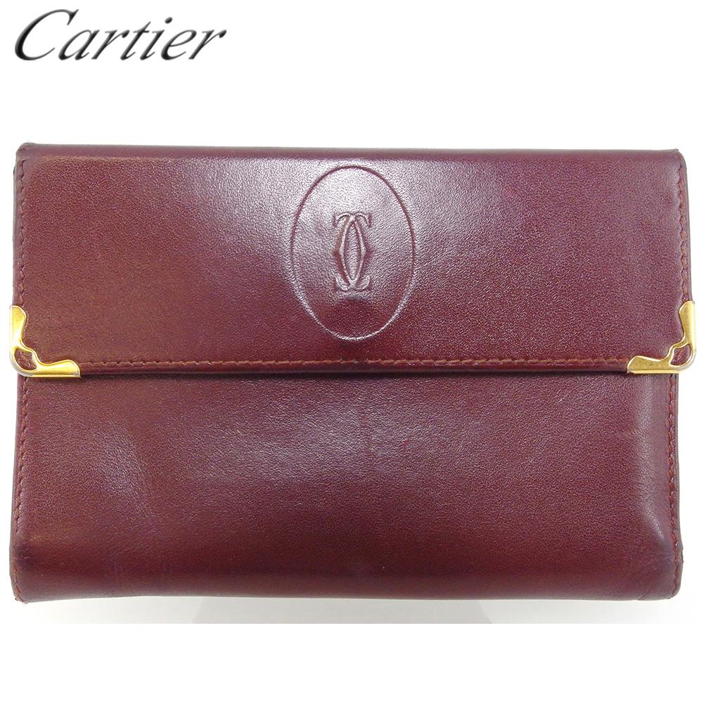 【中古】 カルティエ Wホック 財布 三つ折り レディース メンズ マストライン ボルドー ゴールド レザー Cartier T16987