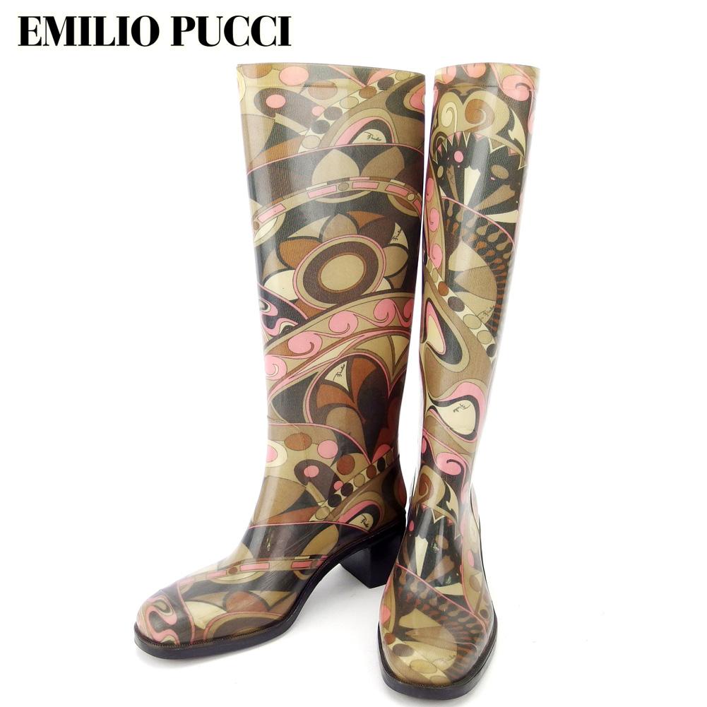 【中古】 エミリオ プッチ EMILIO PUCCI レインブーツ シューズ 靴 レディース ♯37 ロング ブーツ ベージュ ブラウン ピンク系 ラバー T17017