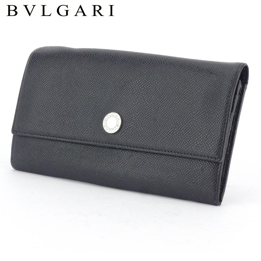 【中古】 ブルガリ 長財布 ファスナー付き 財布 レディース メンズ ロゴボタン ブラック シルバー レザー BVLGARI T17136