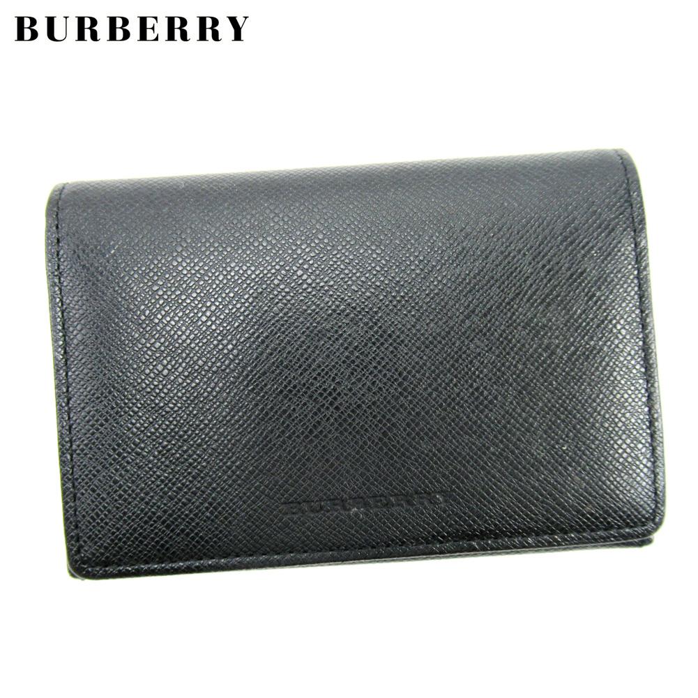 【中古】 バーバリー BURBERRY カードケース 名刺入れ レディース メンズ ブラック レザー T17191 .
