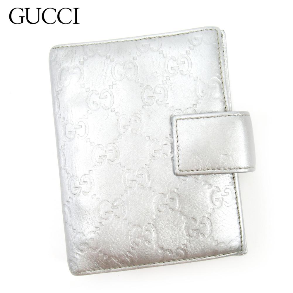 【中古】 グッチ Gucci 手帳カバー レディース メンズ シルバー レザー T17244