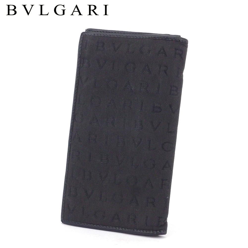 【中古】 ブルガリ 長財布 ファスナー付き 財布 ロゴマニア ブラック キャンバス×レザー BVLGARI T17418
