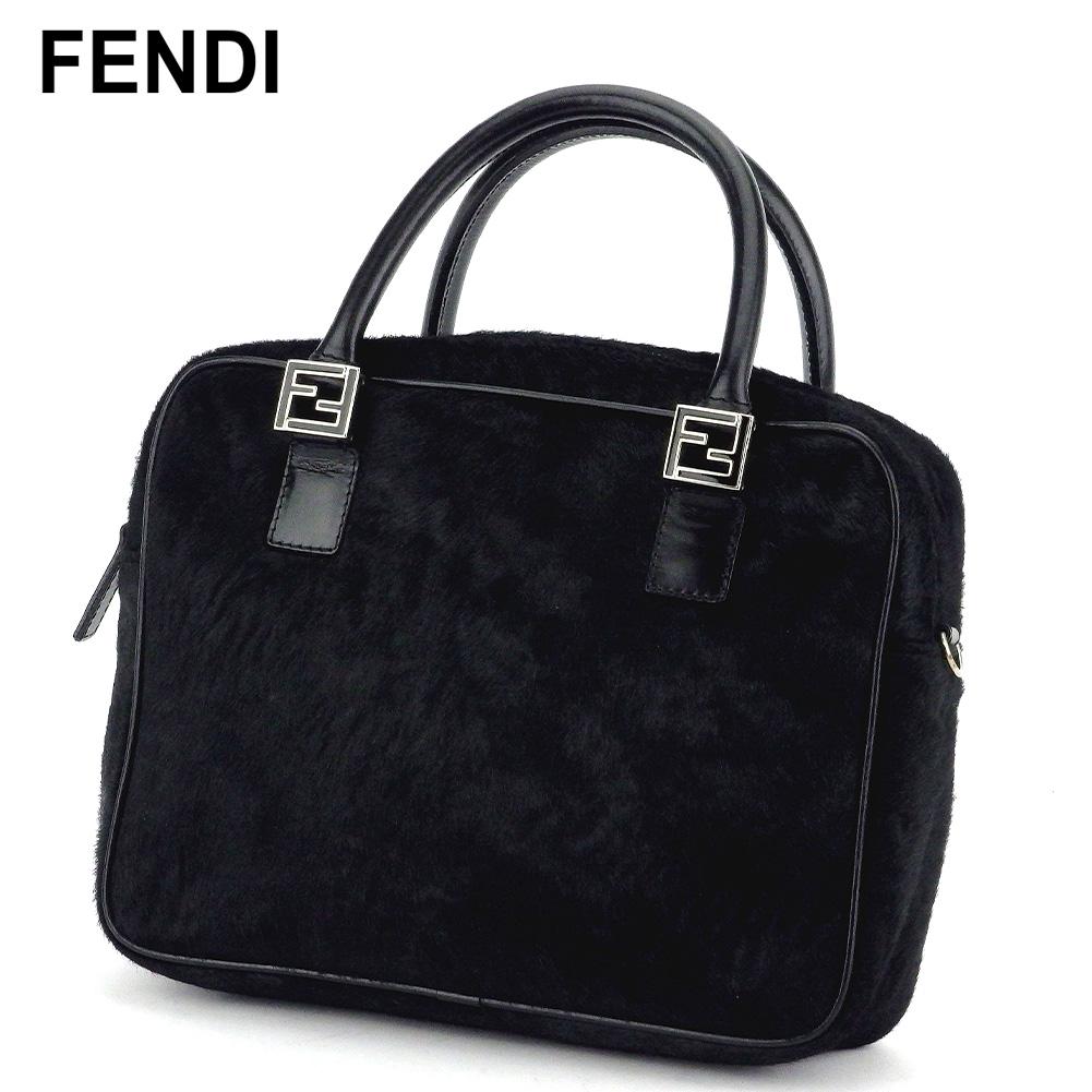 【中古】 フェンディ ハンドバッグ バッグ FFマーク ブラック シルバー ハラコ×レザー FENDI T17421