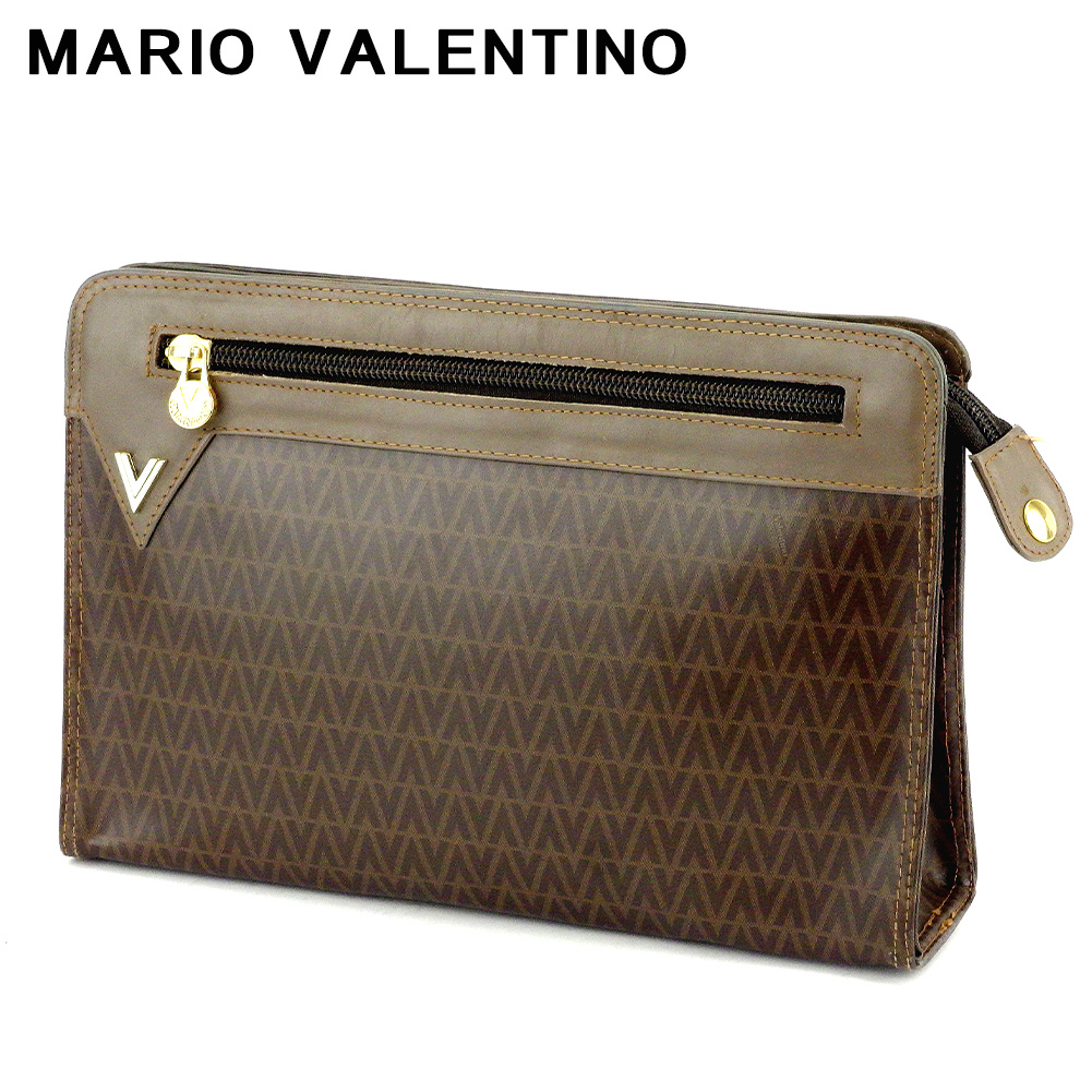 【中古】 マリオ ヴァレンティノ クラッチバッグ セカンドバッグ Vマーク ブラウン ベージュ ゴールド PVC×レザー MARIO VALENTINO T17438