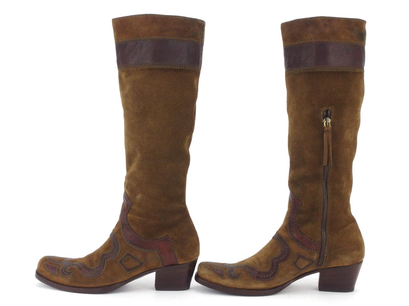 ミュウミュウ ブーツ シューズ 靴 ♯36 ロング ウエスタン ブラウン ゴールド スエード miu miu T17440YEWDH9I2
