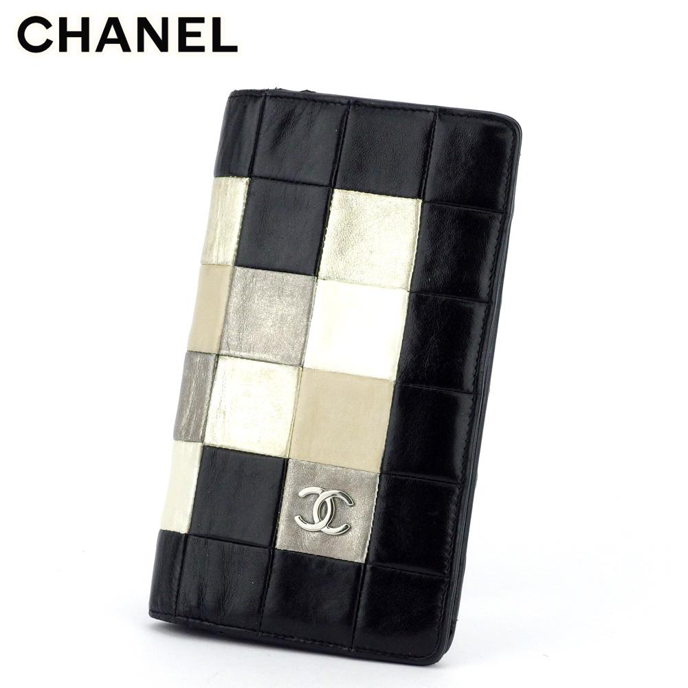 【中古】 シャネル 長財布 さいふ ファスナー付き 財布 さいふ オールドシャネル チョコバー ブラック ゴールド シルバー系 レザー CHANEL T17541