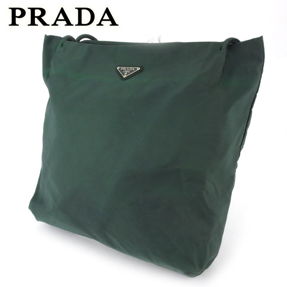 【中古】 プラダ トートバッグ ワンショルダー レディース メンズ グリーン ナイロン PRADA E1531