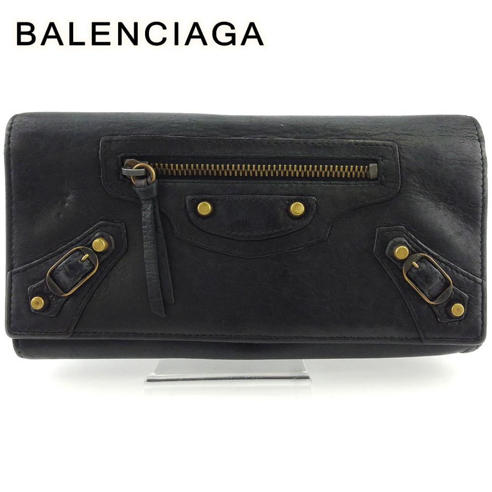【中古】 バレンシアガ 長財布 さいふ L字ファスナー 財布 さいふ レディース メンズ クラシックコンチネンタル ブラック ゴールド シープスキン BALENCIAGA T17576