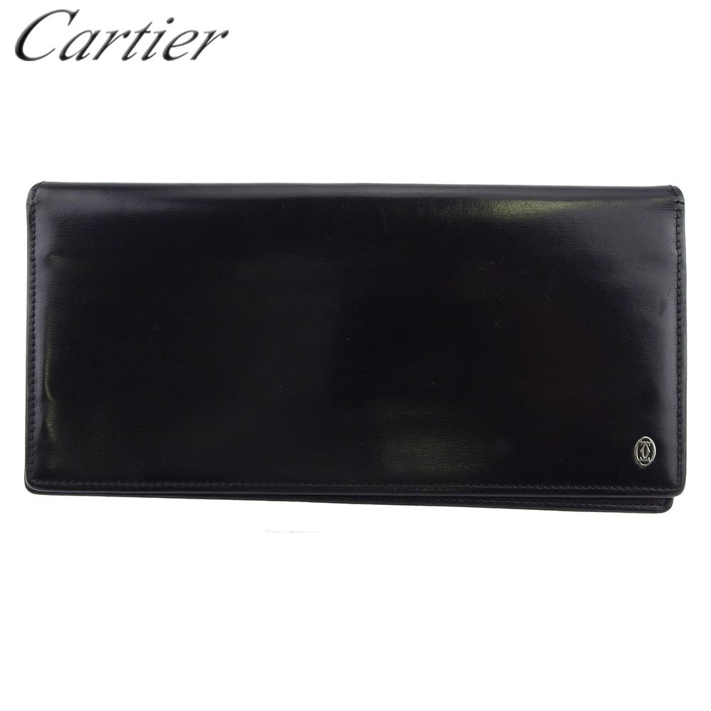 【中古】 カルティエ 長財布 ファスナー付き 財布 メンズ パシャ ブラック シルバー レザー Cartier L2959 .