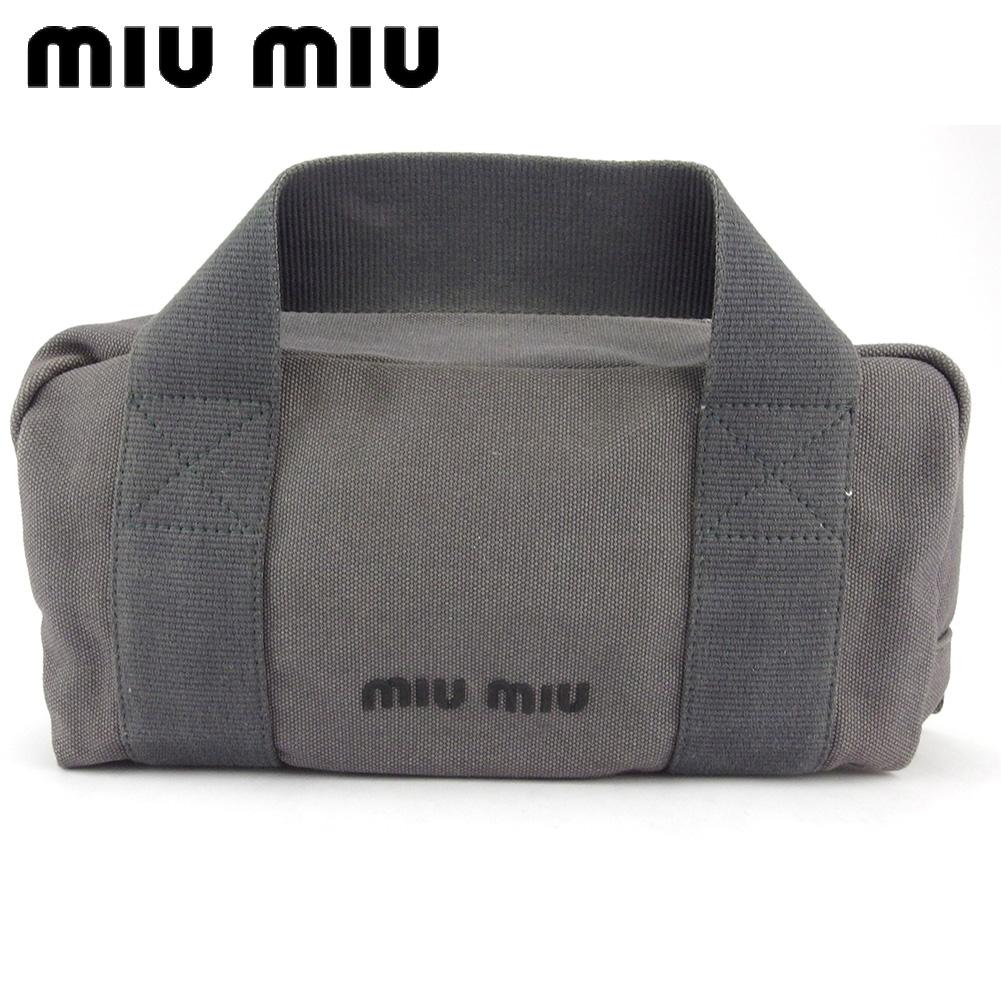 【中古】 ミュウミュウ ハンドバッグ ミニボストンバッグ レディース メンズ ロゴ グレー 灰色 ブラック キャンバス miu miu L2966
