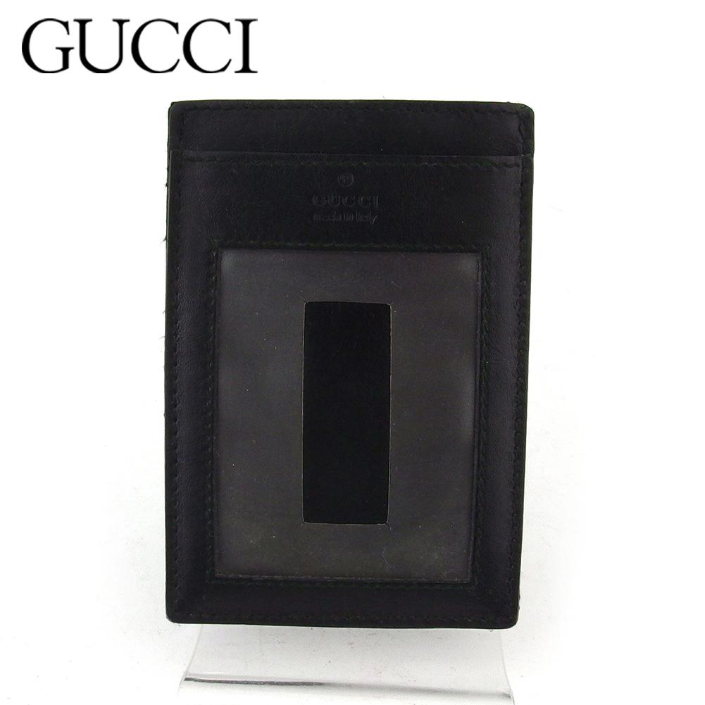 【中古】 グッチ 定期入れ パスケース メンズ ロゴ ブラック レザー GUCCI I576