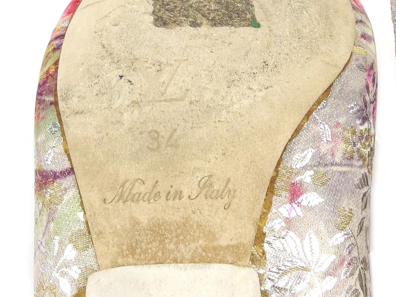 ルイ ヴィトン パンプス シューズ 靴 レディース ♯34 刺繍 シルバー ピンク パープル LOUIS VUITTON T17834shdrtQCx