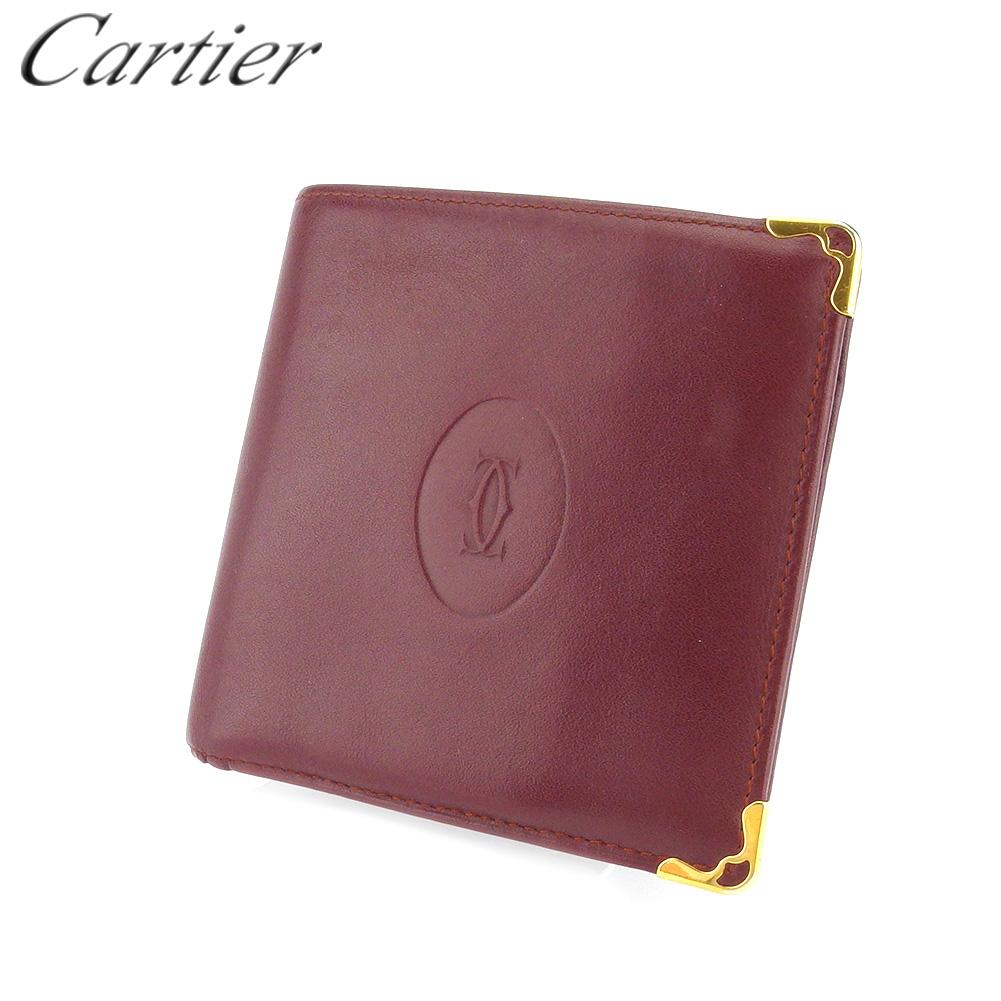 【中古】 カルティエ 二つ折り 財布 レディース メンズ マストライン ボルドー ゴールド レザー Cartier B1109