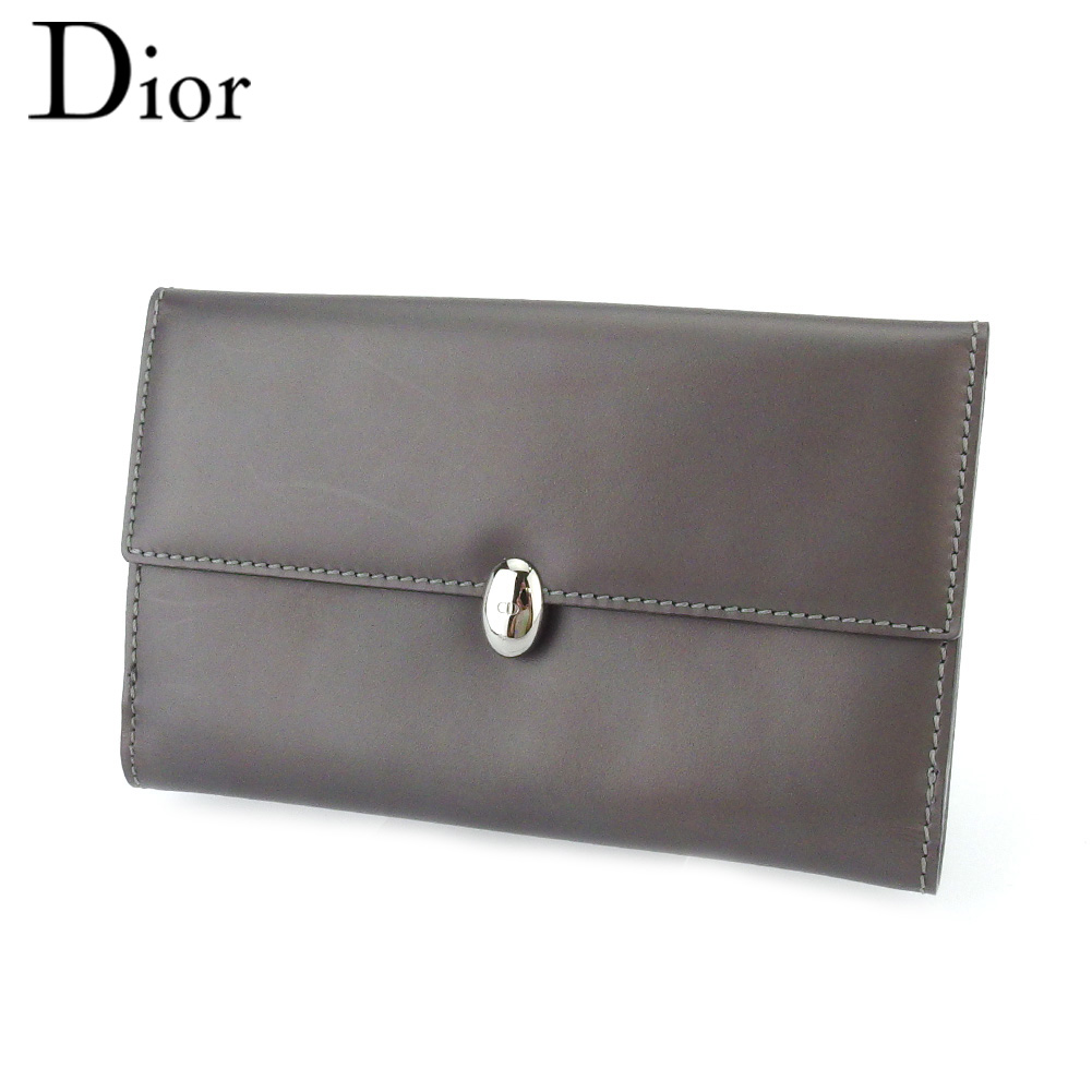 【中古】 ディオール Wホック 財布 中長財布 レディース メンズ CDボタン グレー 灰色 シルバー レザー Dior T18021
