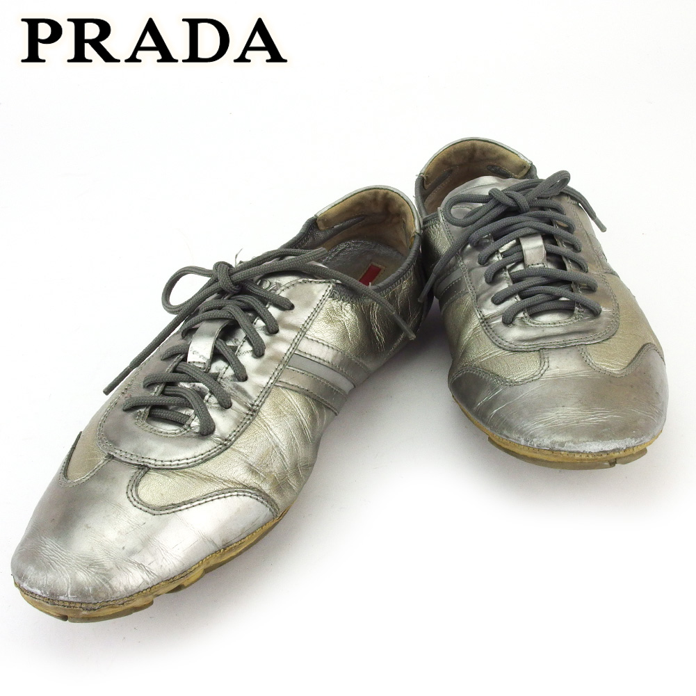 【中古】 プラダ スニーカー シューズ 靴 メンズ #6 シルバー レザー PRADA D2227 .