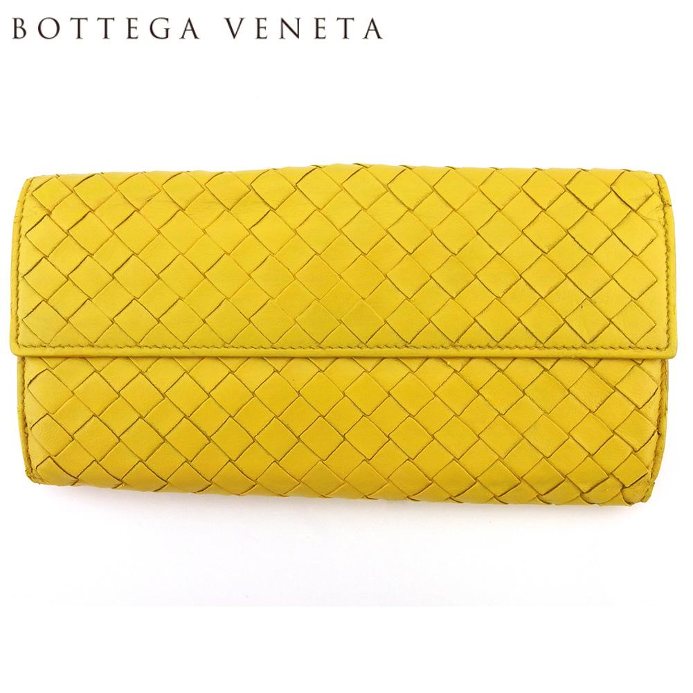 【中古】 ボッテガ ヴェネタ 長財布 さいふ Wホック 財布 さいふ レディース メンズ イントレチャート イエロー レザー BOTTEGA VENETA L3062