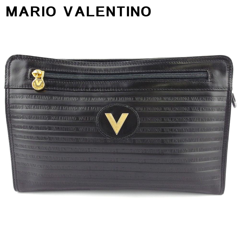 【中古】 マリオ ヴァレンティノ クラッチバッグ セカンドバッグ レディース メンズ Vマーク ブラック ゴールド レザー MARIO VALENTINO T18172