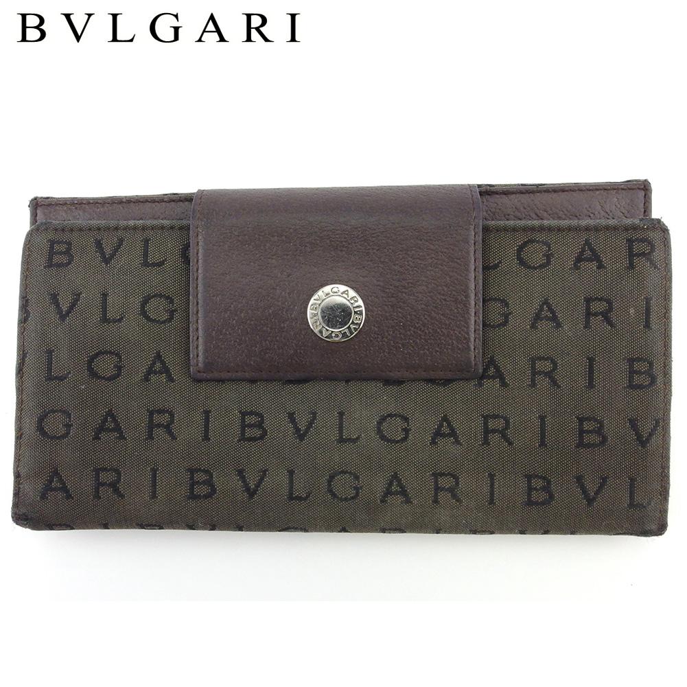【中古】 ブルガリ 長財布 さいふ Wホック 財布 さいふ レディース メンズ ロゴマニア ブラウン ブラック シルバー キャンバス×レザー BVLGARI T18175
