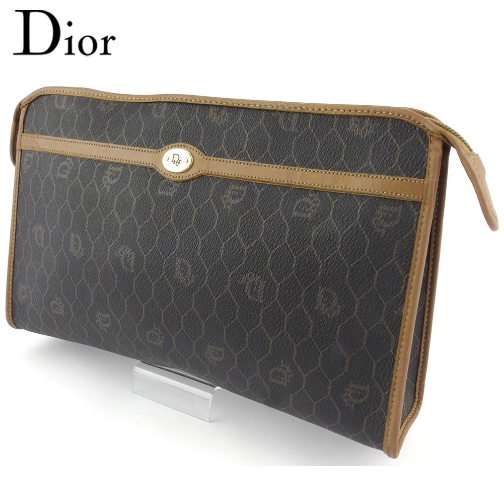 【中古】 ディオール クラッチバッグ セカンドバッグ レディース メンズ オールドディオール ハニカム ブラック ブラウン PVC×レザー Dior T18184 .