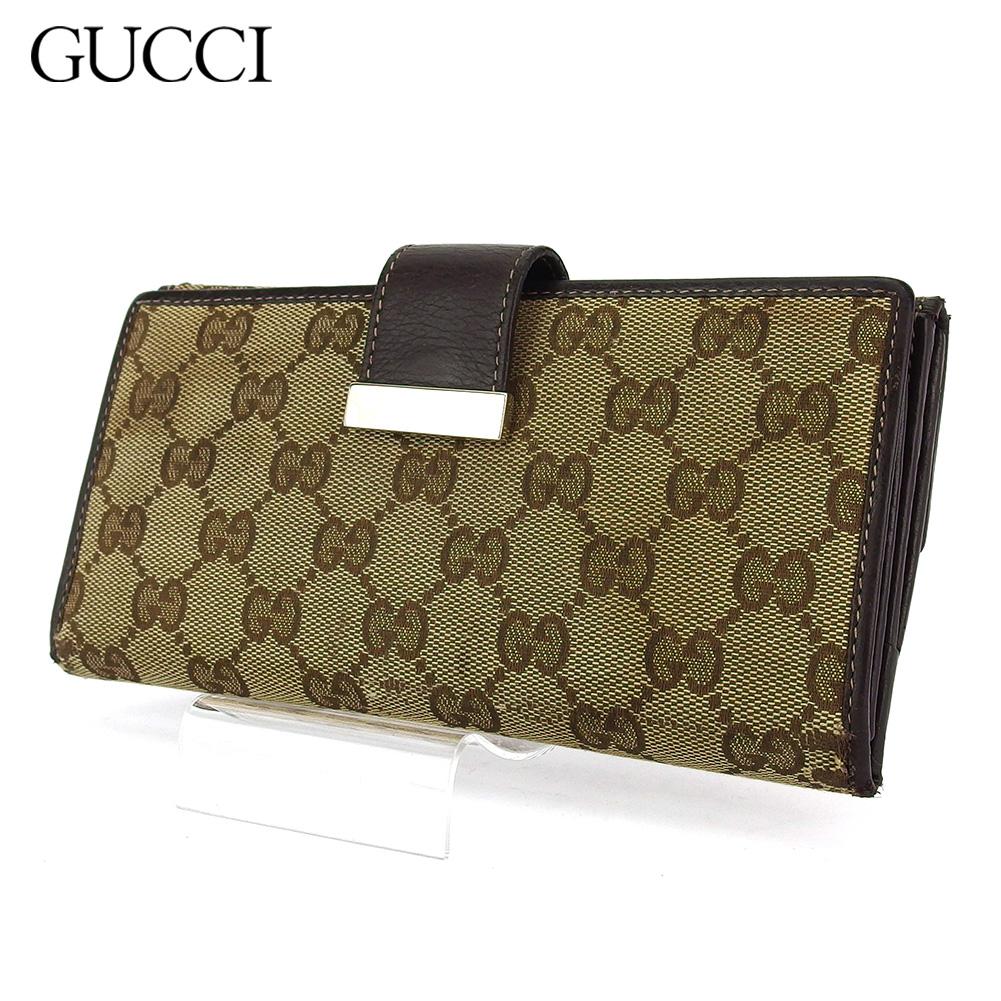 【中古】 グッチ 長財布 さいふ Wホック レディース メンズ GG柄 ブラウン ベージュ キャンバス×レザー Gucci T18434