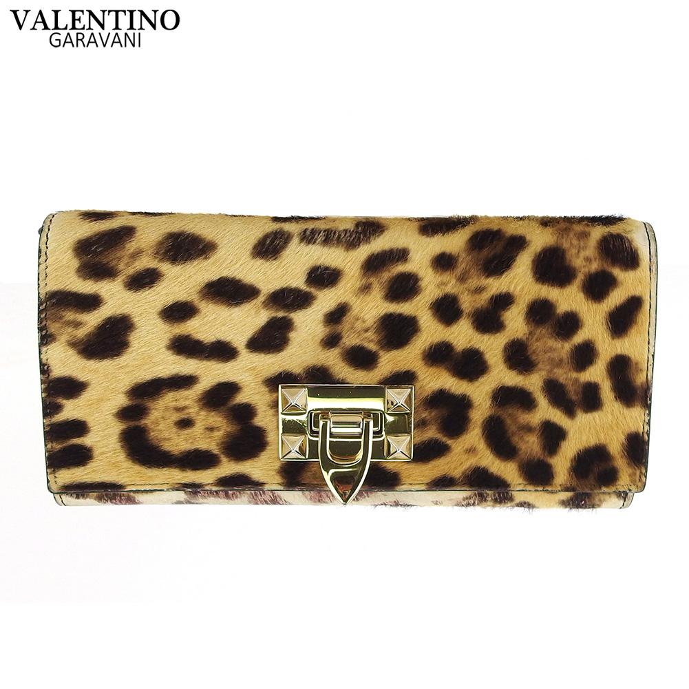【中古】 ヴァレンティノ ガラバーニ 長財布 さいふ ファスナー付き 長財布 さいふ レディース メンズ レオパード ベージュ ブラウン レザー×ハラコ VALENTINO GARAVARNI T18440
