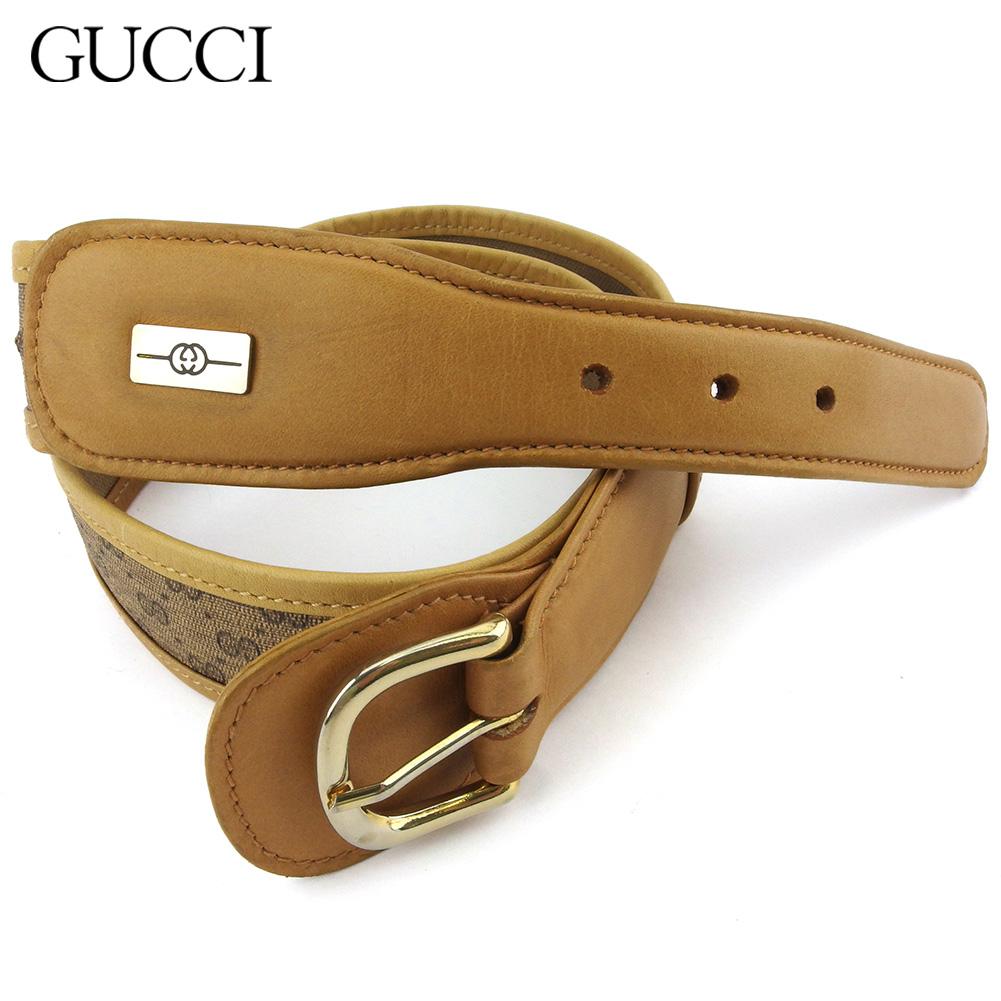 【中古】 グッチ ベルト ウエストマーク レディース メンズ マイクロGG ベージュ PVC×レザー Gucci T18448