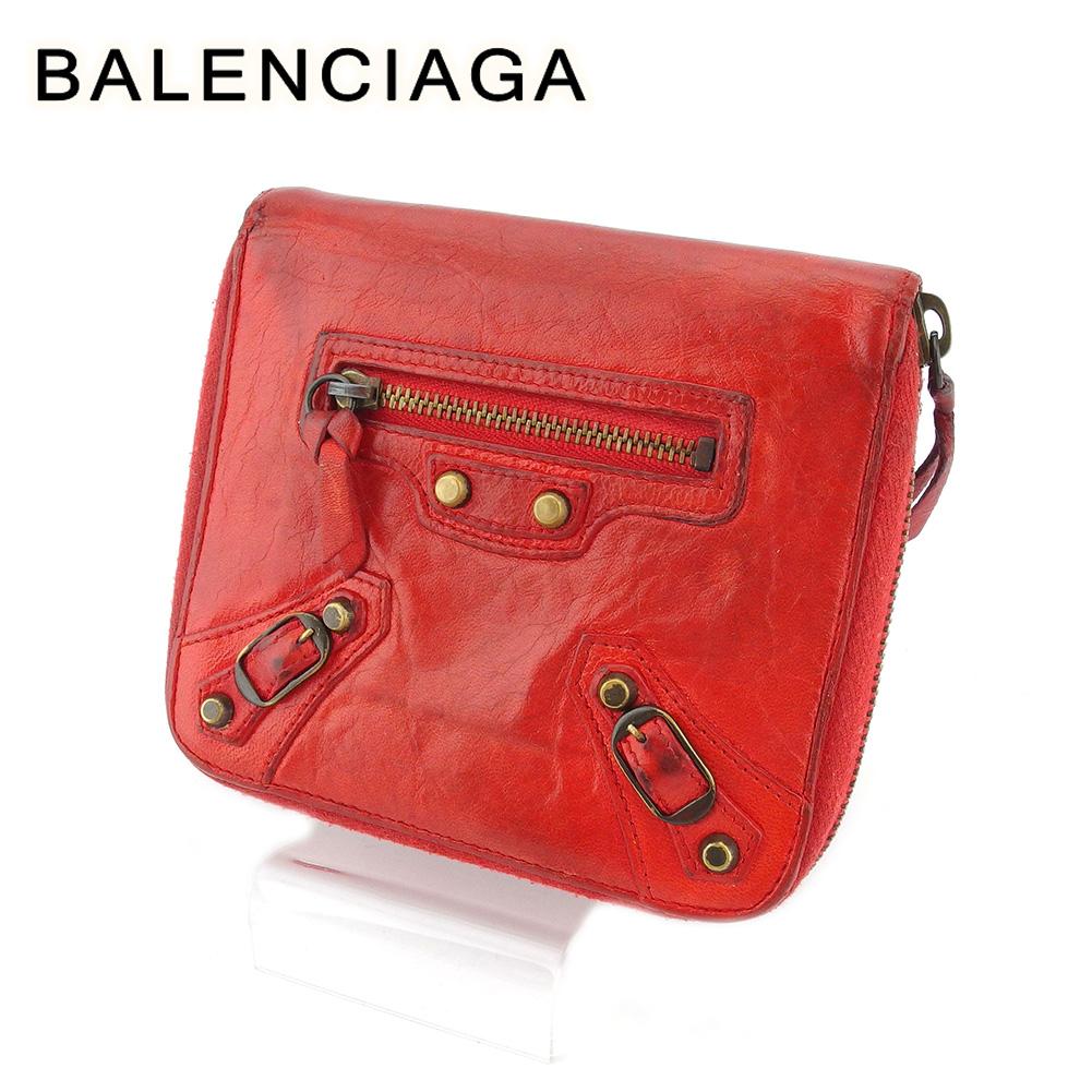 【中古】 バレンシアガ 二つ折り ミニ財布 ラウンドファスナー レディース メンズ レッド レザー BALENCIAGA T18475