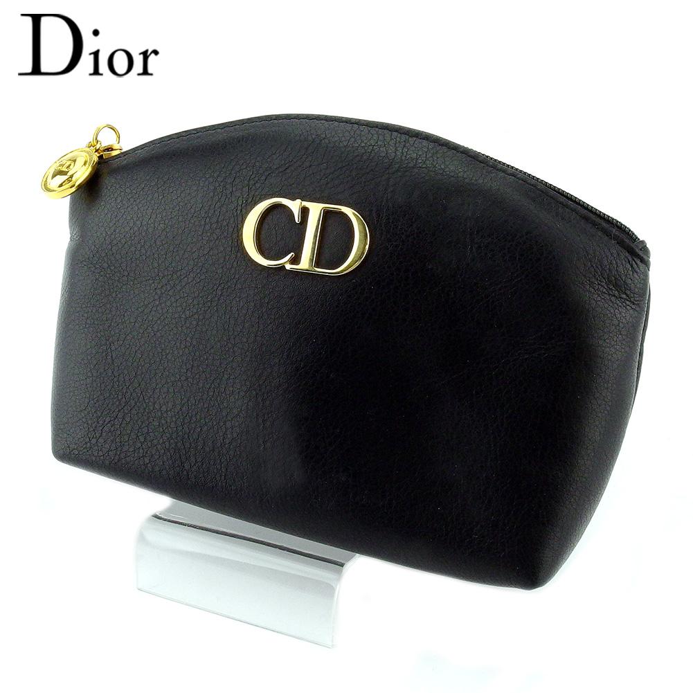 【値引実施中】 【中古】 ディオール ポーチ 化粧ポーチ レディース ロゴ ブラック レッド レザー Dior T18491
