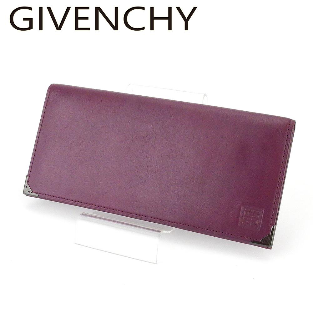 【中古】 ジバンシィ 長財布 さいふ ファスナー付き 財布 さいふ レディース メンズ 4Gロゴ パープル ブラック レザー GIVENCHY T18538