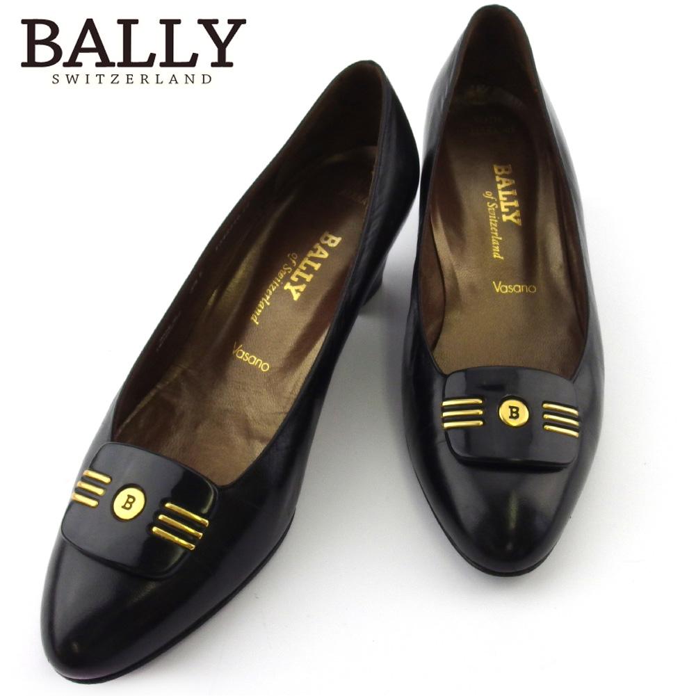 【中古】 バリー パンプス シューズ 靴 レディース ♯3ハーフE ラウンドトゥ Bマーク ブラック ゴールド レザー BALLY L3242