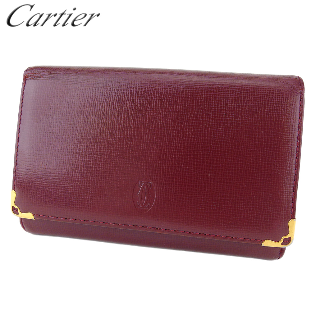 カルティエ 人気 中古 L字ファスナー 財布 二つ折り 売り出し レディース ゴールド ボルドー マストライン 期間限定特価品 メンズ レザー L3541 Cartier