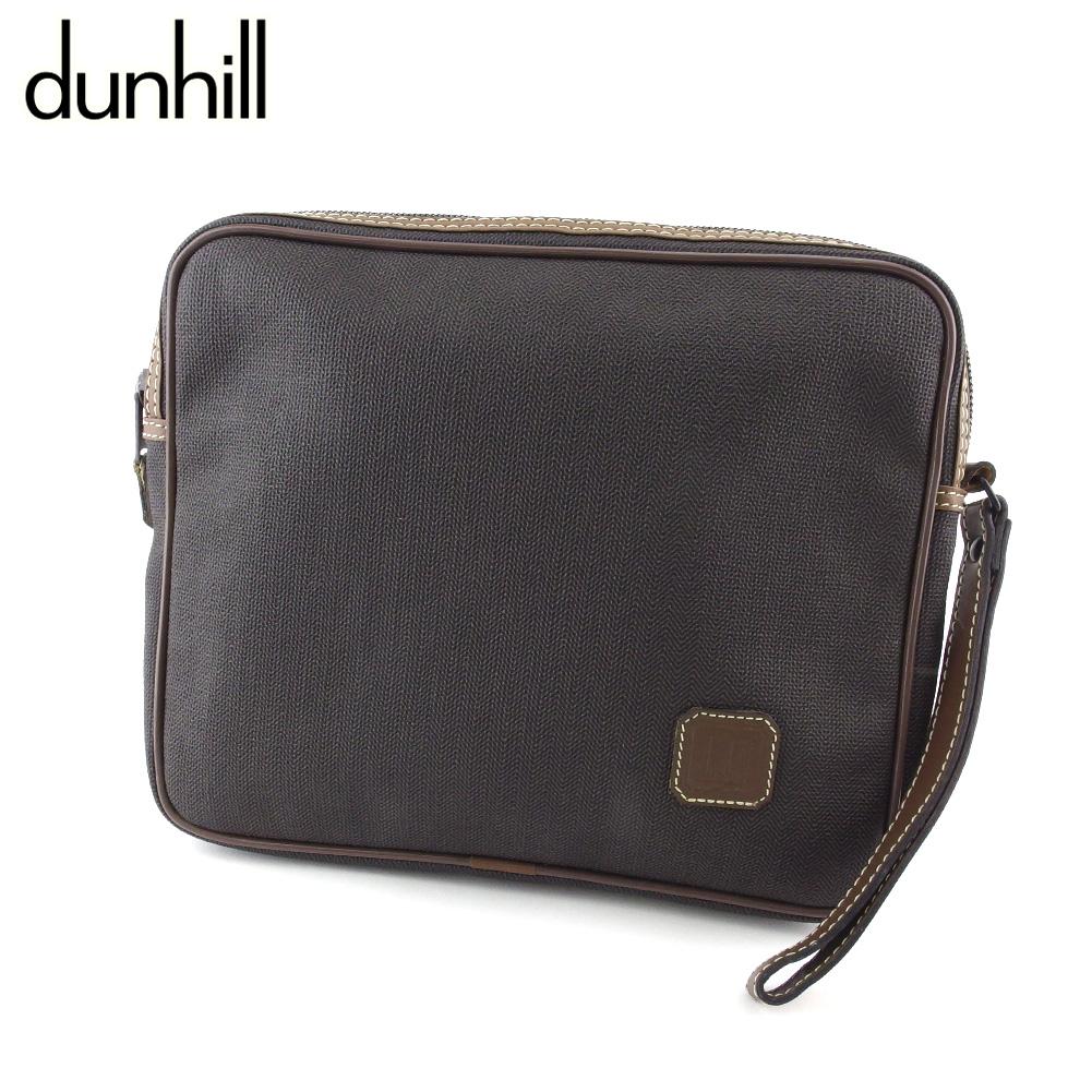 ダンヒル 人気 【中古】 ダンヒル クラッチバッグ セカンドバッグ バッグ メンズ ヘリンボーン グレー 灰色 ブラック ブラウン PVC×レザー dunhill T20206