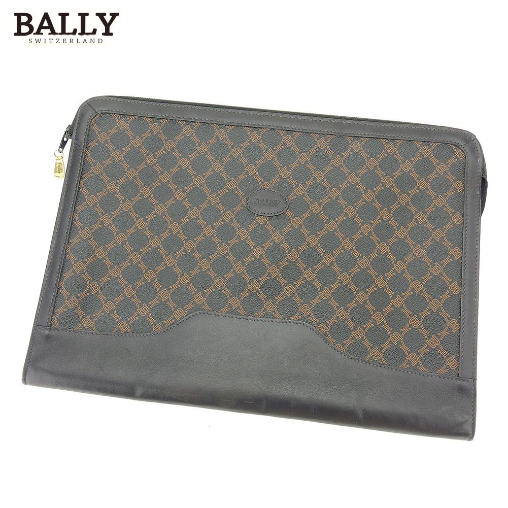 【中古】 バリー BALLY ドキュメントケース 書類ケース レディース メンズ ブラック ブラウン PVC×レザー L2867
