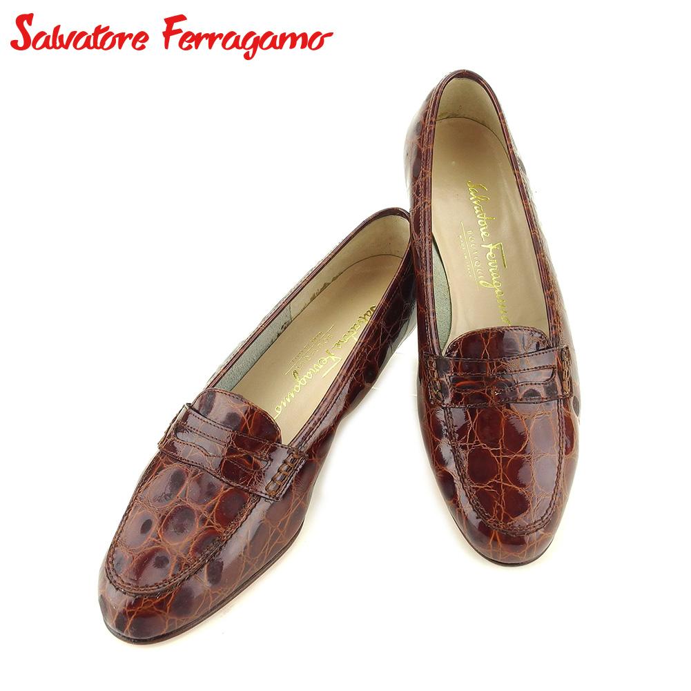 【中古】 サルヴァトーレ フェラガモ Salvatore Ferragamo パンプス シューズ 靴 レディース #5 ブラウン レザー T9711