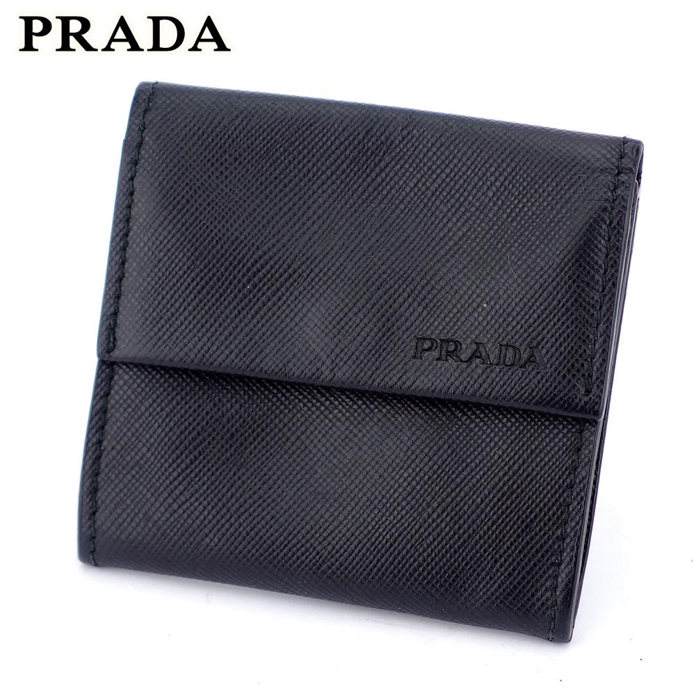 【中古】 プラダ PRADA コインケース 小銭入れ メンズ ブラック サフィアーノレザー D2051 .