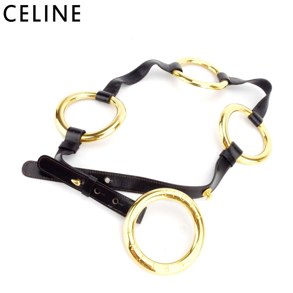 【中古】 セリーヌ CELINE ベルト レディース ブラウン ゴールド レザー×ゴールド金具 D2081
