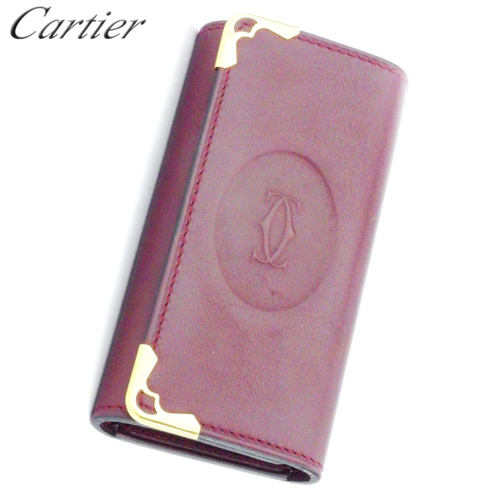 【中古】 カルティエ Cartier キーケース 4連キーケース レディース メンズ ボルドー ゴールド レザー D2105 .