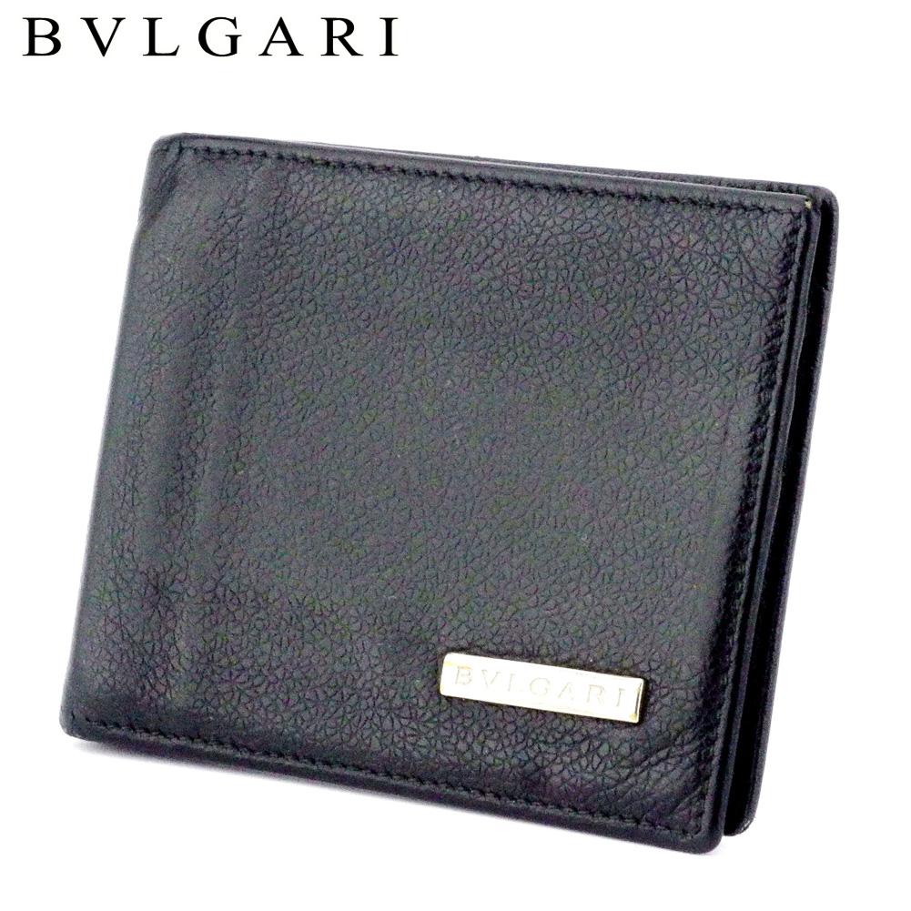 【中古】 ブルガリ BVLGARI 二つ折り 札入れ マネークリップ式 メンズ ブラック シルバー レザー T9917