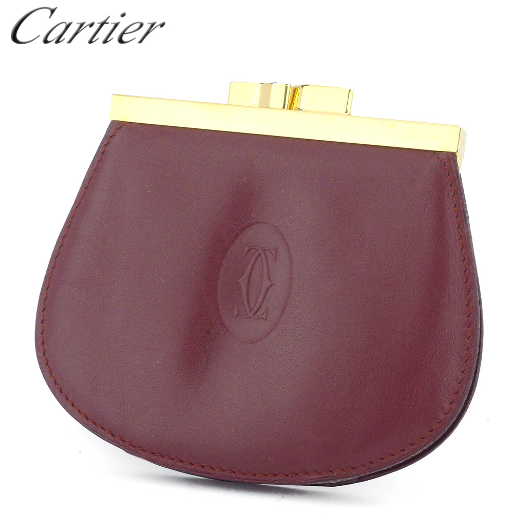 【中古】 カルティエ コインケース 小銭入れ レディース メンズ がま口 マストライン ボルドー ゴールド レザー Cartier B1102