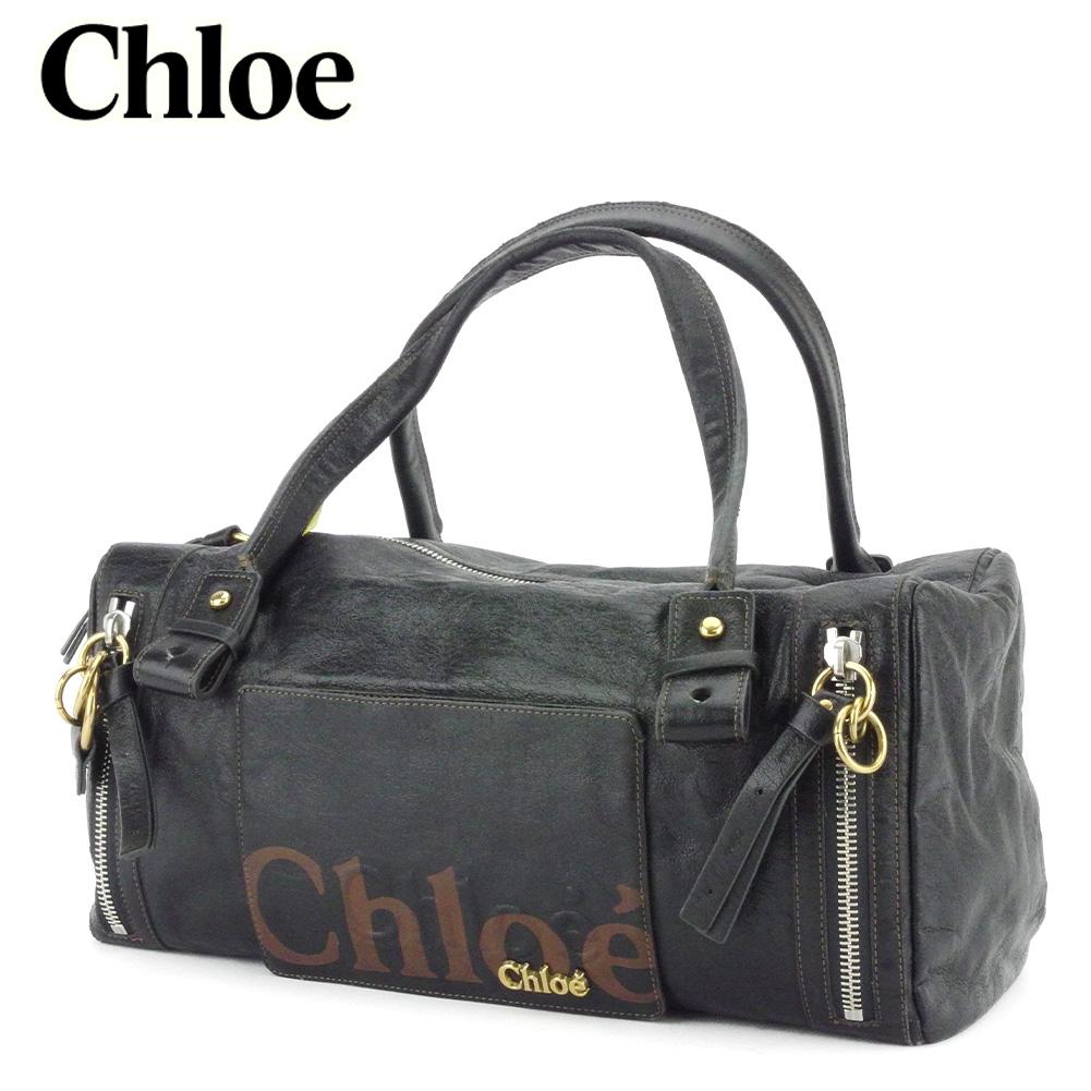 【中古】 クロエ ボストンバッグ ハンドバッグ レディース エクリプス ブラック ブラウン ゴールド シルバー 合皮 Chloe T10041