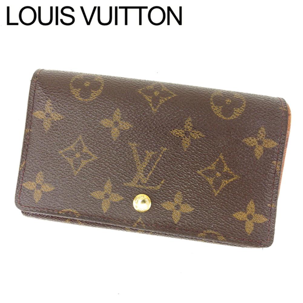 【中古】 ルイヴィトン Louis Vuitton L字ファスナー財布 メンズ可 ポルトモネビエトレゾール モノグラム PVC×レザー C1389 .