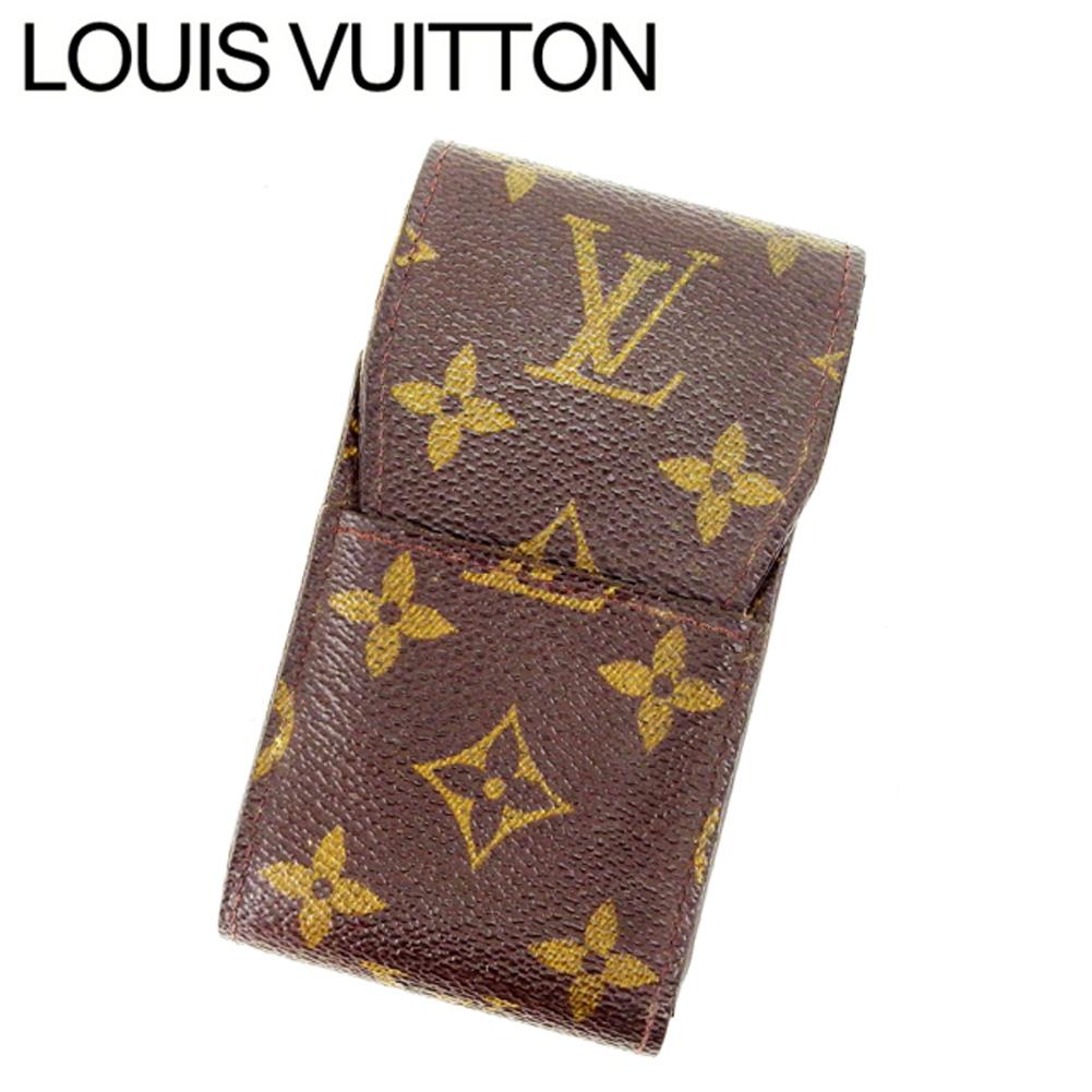【中古】 ルイヴィトン Louis Vuitton シガレットケース タバコケース レディース エテュイシガレット ブラウン モノグラムキャンバス E683