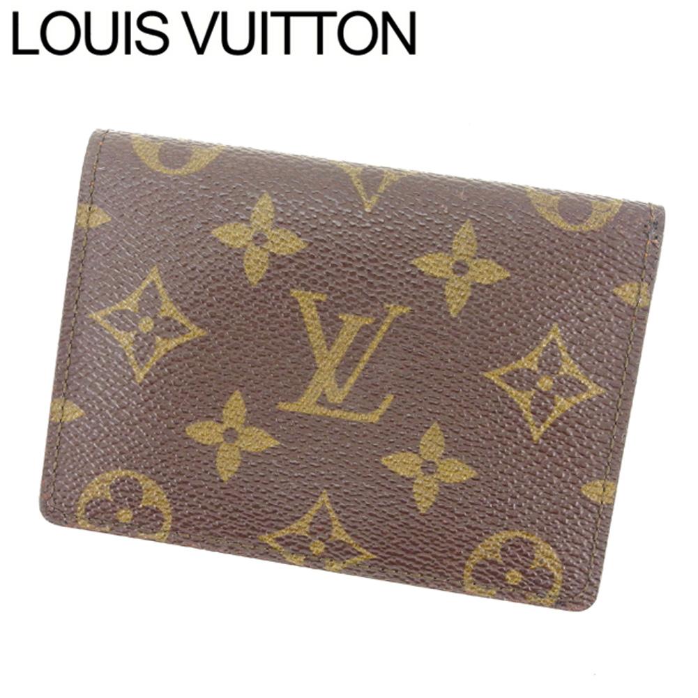 【中古】 ルイヴィトン Louis Vuitton 定期入れ /パスケース メンズ可 /ポルト2カルトヴェルティカル モノグラム M60533 ブラウン PVC×レザー (あす楽対応)美品 人気 Y1000