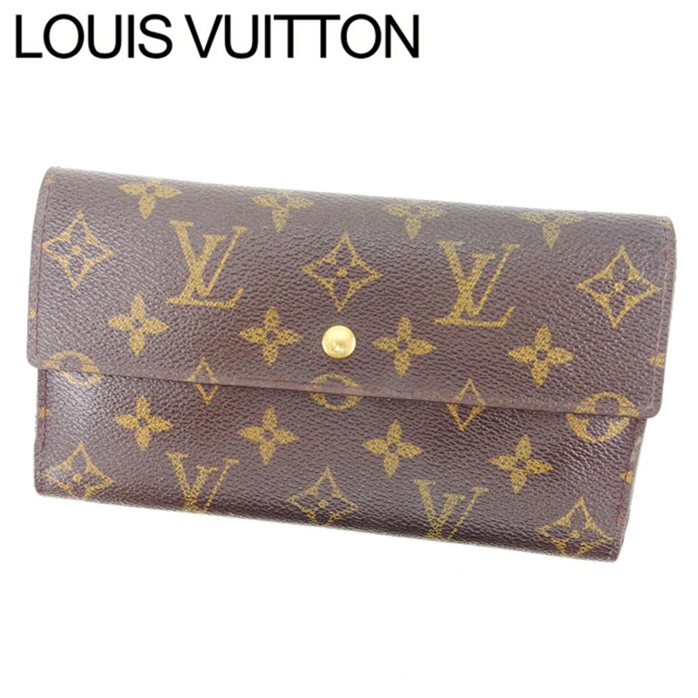 【中古】 ルイヴィトン Louis Vuitton 長財布 三つ折り メンズ可 ポルトトレゾールインターナショナル モノグラム M61215 ブラウン モノグラムキャンバス (あす楽対応)人気 激安 Y1048