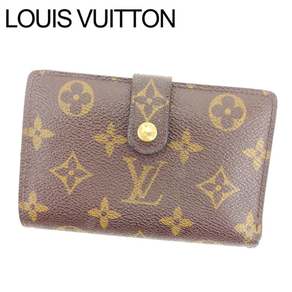 【中古】 ルイヴィトン Louis Vuitton がま口財布 二つ折り メンズ可 /ポルトモネ ビエヴィエノワ モノグラム M61663 ブラウン PVC×レザー (あす楽対応)激安 人気 Y1136 .