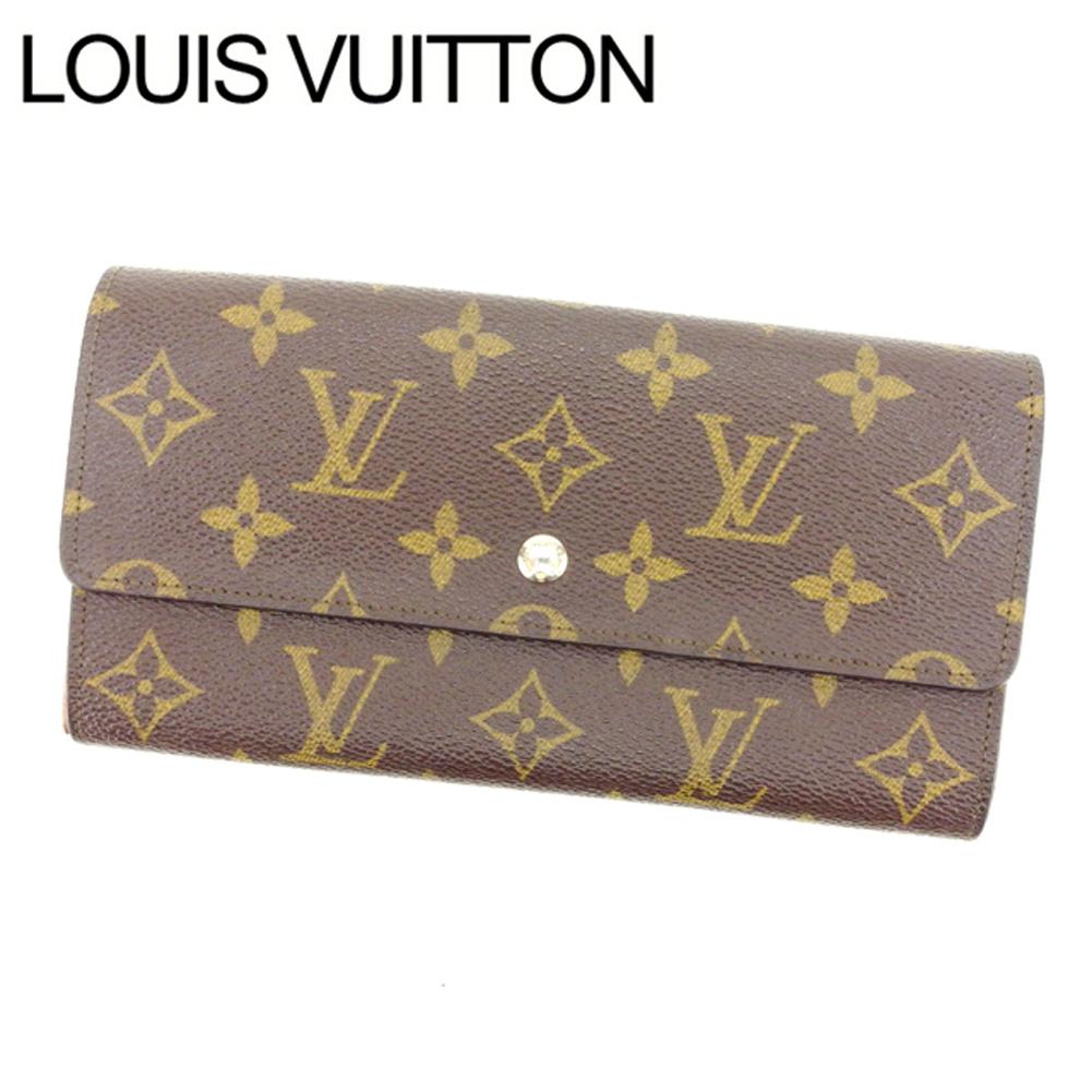 35f2f1a46477 【中古】 ルイヴィトン Louis Vuitton 長財布 ファスナー 二つ折り メンズ可 ポシェットポルト